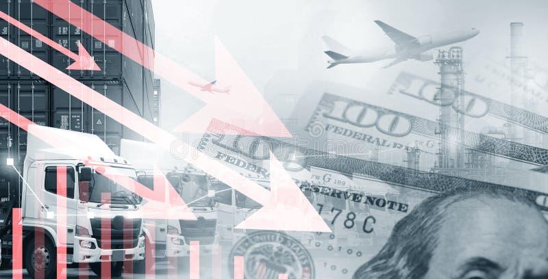 Transportu & przemysłu biznesu zmniejszanie lub puszek obraz stock