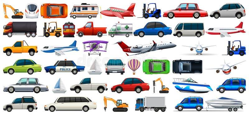 Transportu set samochody i ciężarówki ilustracja wektor