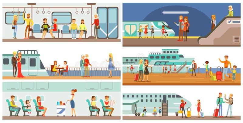 Transportuppsättning för folk offentligt, passagerare av tunnelbanan, flygplan, illustrationer för vektor för kryssningskepp vektor illustrationer