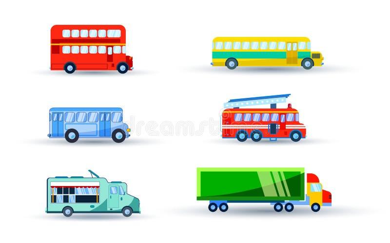 Transportuppsättning med bussbilen royaltyfri illustrationer