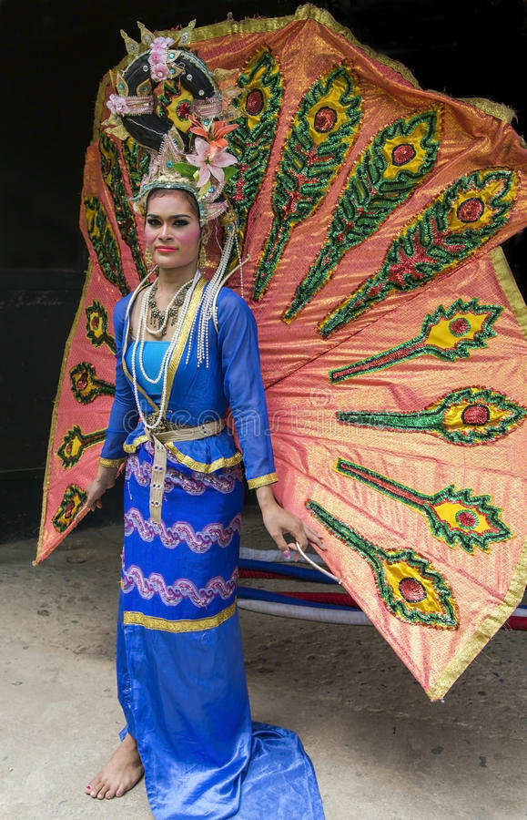 Transsexuals in stage costumes on the Elephant show. THAILAND, PATTAYA, MARCH, 28, 2015 -Transsexuals in stage costumes on the Elephant show in Pattaya, Thailand royalty free stock photography