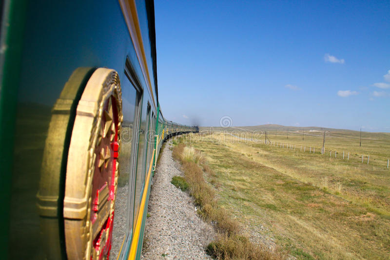 Transsiberische (transmongolian) trein stock fotografie
