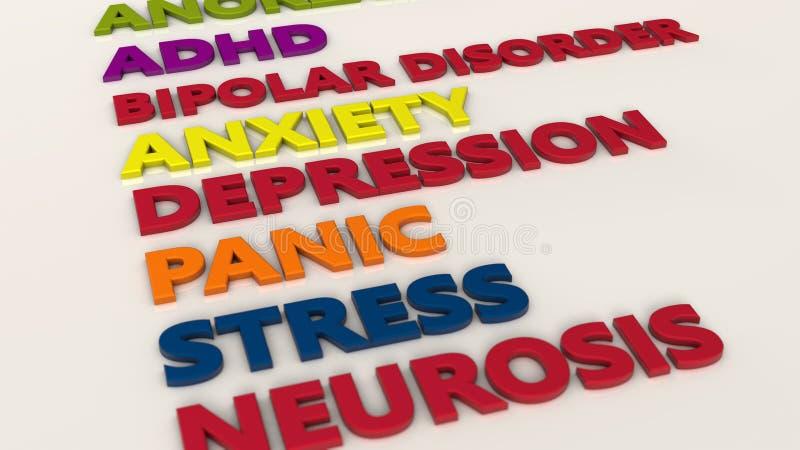 transtornos mentais 3d ilustração do vetor