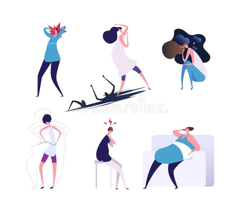 Transtornos mentais Povos comprimida e do esforço Pessoas com ansiedade, histeria e problemas psiquiátricas Vetor ilustração stock