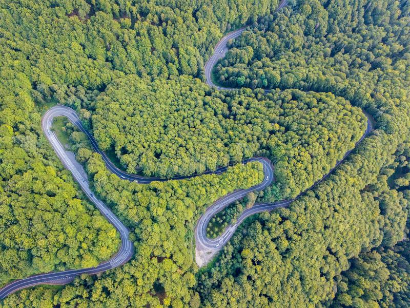 Transylv的Transfagarasan全国路DN7C连接的地区 免版税库存图片