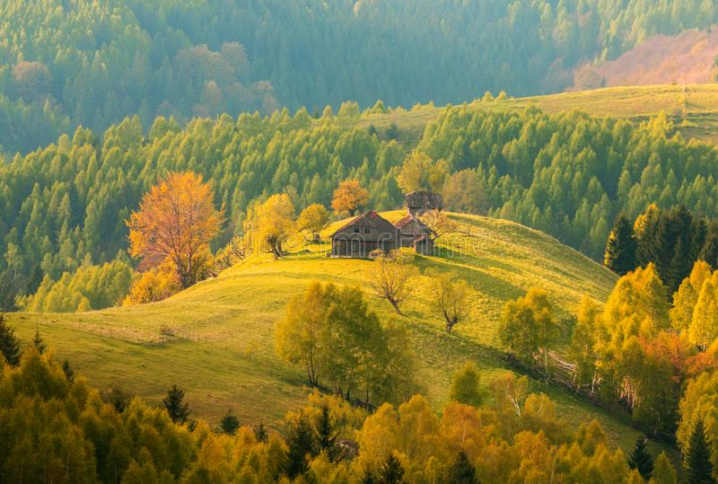 Transylvania Höstlandskap vid soluppgång - Rumäniens traditionella hus på en kulle i skogen arkivfoto
