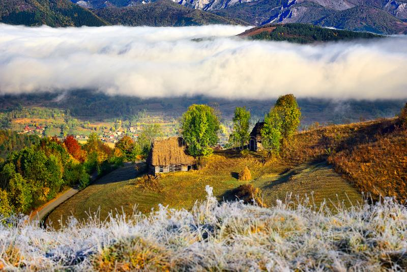 Transylvania landscape in autumn time with low clouds and frost in the morning Romania. Transylvania landscape in autumn time with low clouds and frost in the royalty free stock images