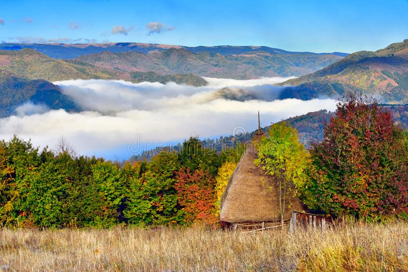 Transylvania landscape in autumn time with low clouds and frost in the morning Romania. Transylvania landscape in autumn time with low clouds and frost in the stock photography