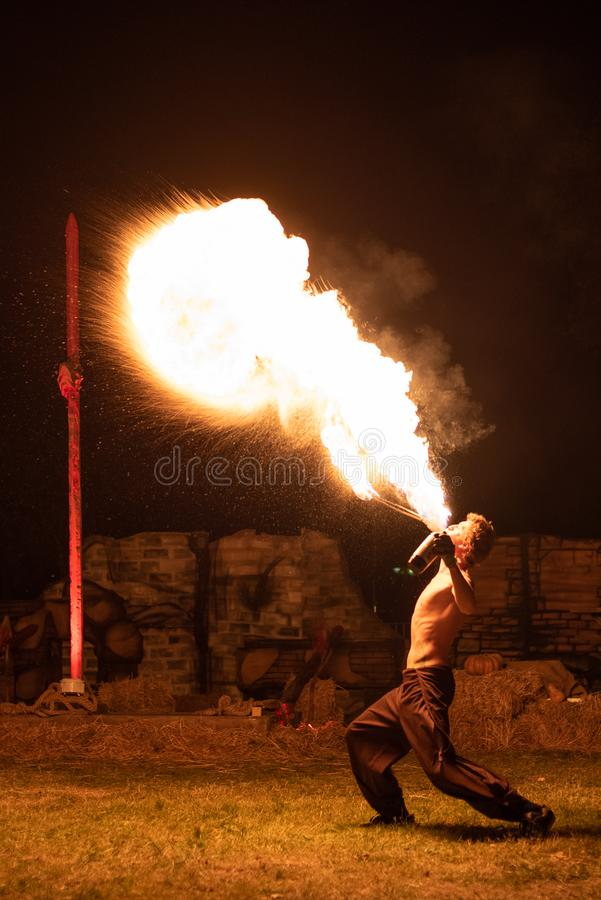 Transylvania medieval festival in Romania, fire-spitting ,flame thrower,Fire Breather royalty free stock photography