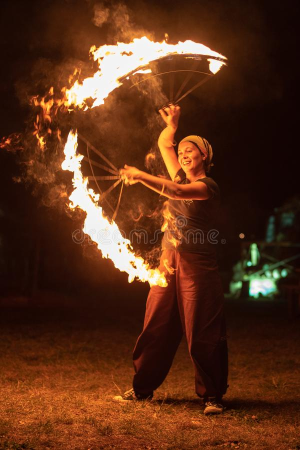 Transylvania medieval festival in Romania, fire-spitting ,flame thrower,Fire Breather royalty free stock images