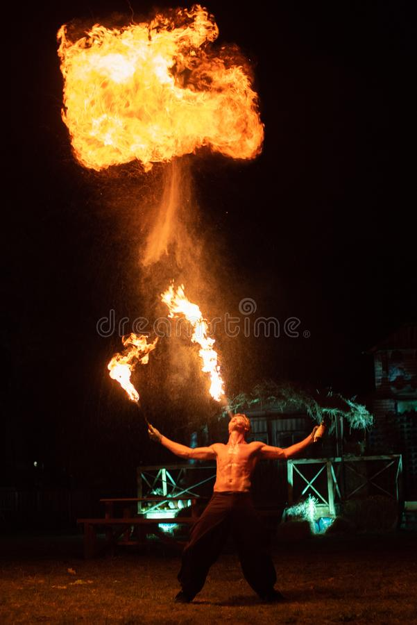 Transylvania medieval festival in Romania, fire-spitting ,flame thrower,Fire Breather stock photography