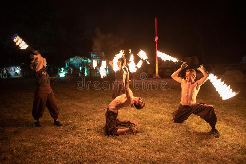 Transylvania medieval festival in Romania, fire-spitting ,flame thrower,Fire Breather stock photos
