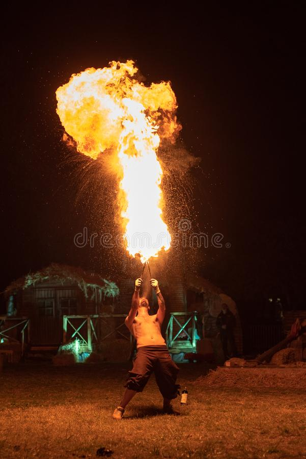 Transylvania medieval festival in Romania, fire-spitting ,flame thrower,Fire Breather stock photo