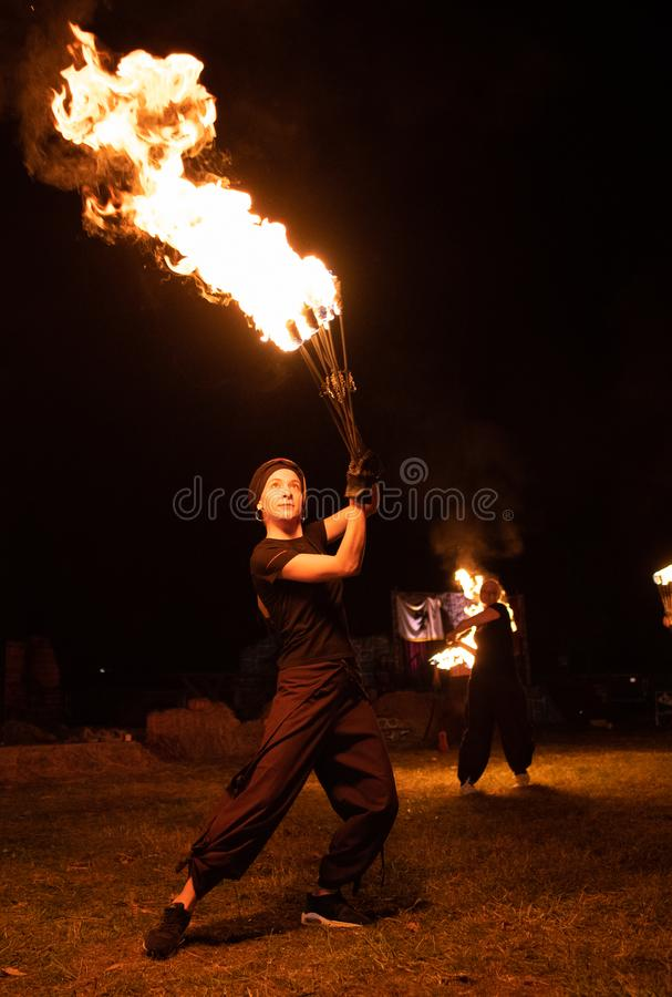 Transylvania medieval festival in Romania, fire-spitting ,flame thrower,Fire Breather stock image
