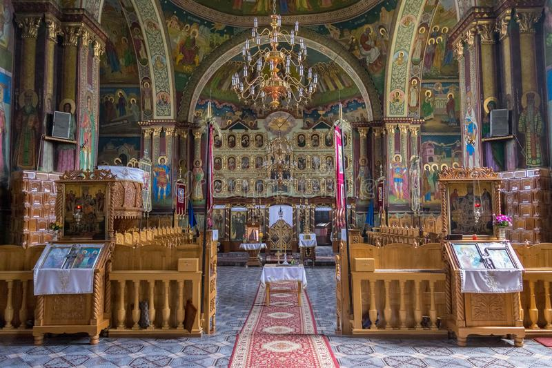 TRANSYLVANIA REGION, ROMANIA - JULY 2, 2017: An interior of a orthodox church, with murals. stock images