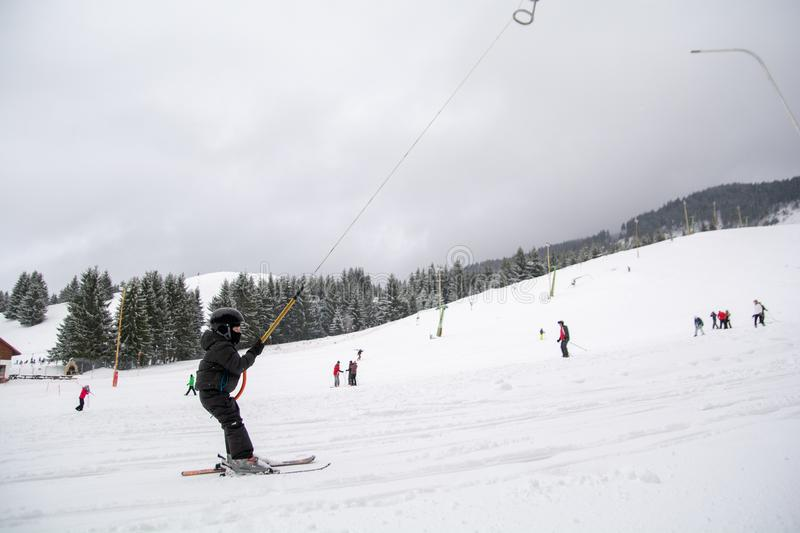 Ski training for the kids in winter time in Romania royalty free stock photography