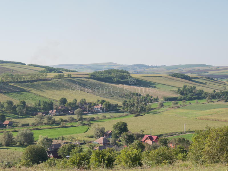 Transylvanian countryside landscape. Photograph of a Transylvanian village landscape. The photography has been taken in August 2016. Additional RAW file stock photo