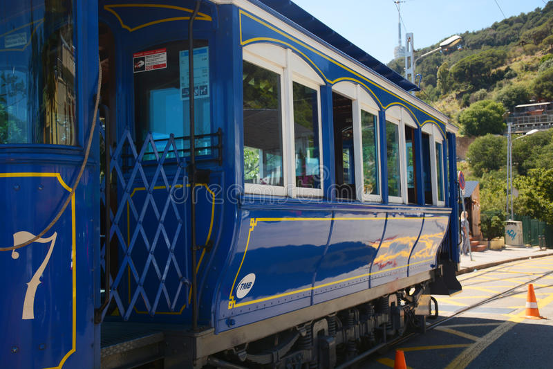 Tranvía azul Tramvia Blau imagenes de archivo