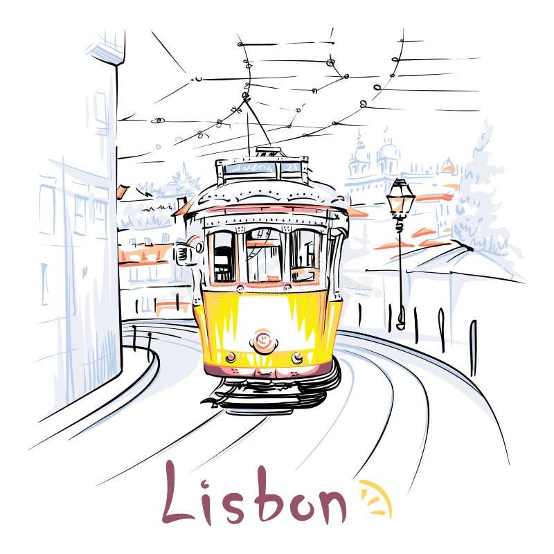 Tranvía del amarillo 28 en Alfama, Lisboa, Portugal stock de ilustración