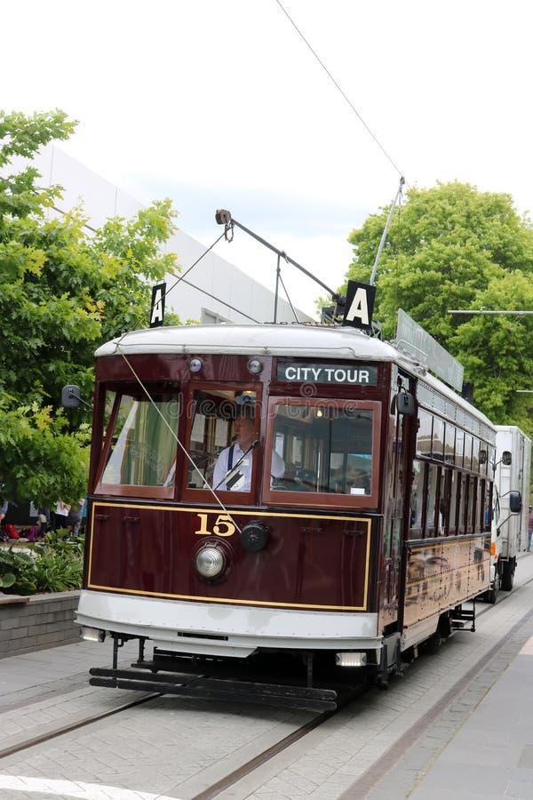 Tranvía en el viaje de la ciudad de Christchurch, Nueva Zelanda foto de archivo
