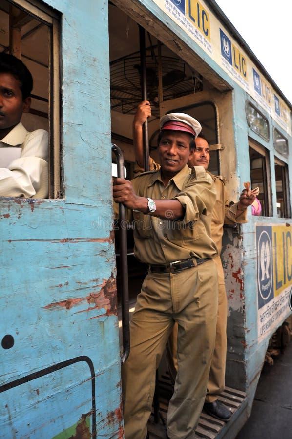 Tranvía en Kolkata, la India. fotografía de archivo