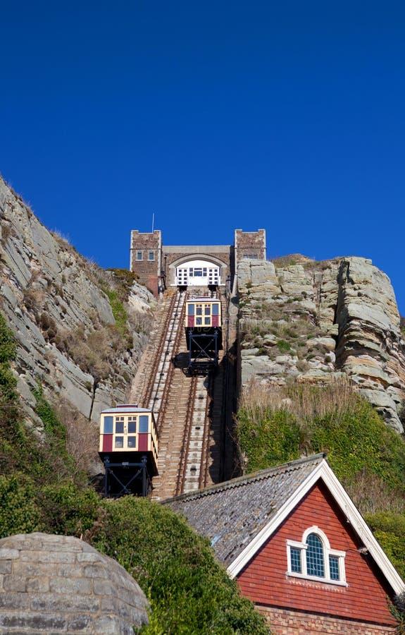 Tranvía ferroviaria Hastings del acantilado funicular del tren imagen de archivo libre de regalías