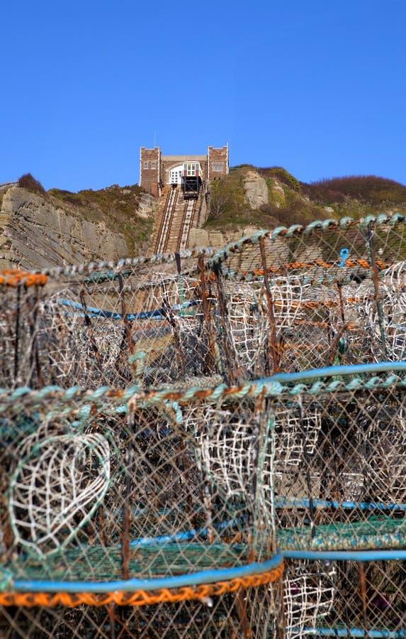 Tranvía funicular de la elevación de los hastings de la industria pesquera  imagen de archivo libre de regalías