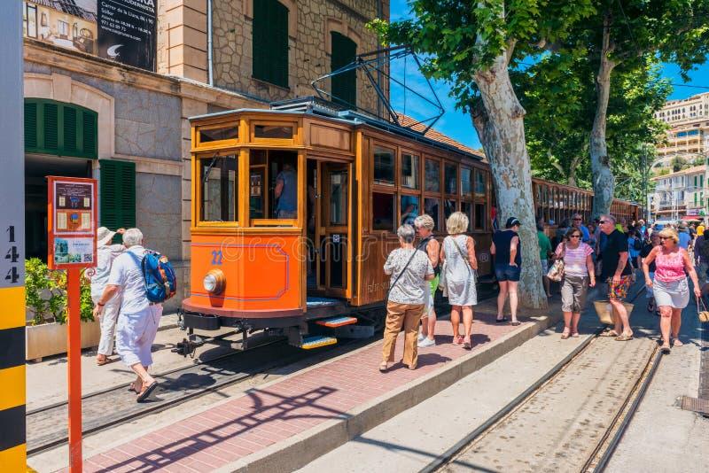 Tranvía histórica en Port de Soller Mallorca España fotografía de archivo libre de regalías