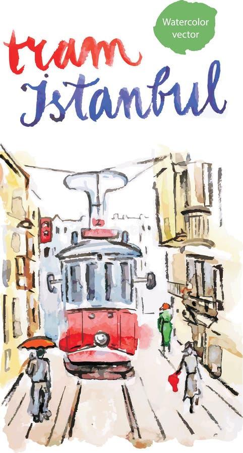 Tranvía roja vieja de la acuarela en Estambul stock de ilustración