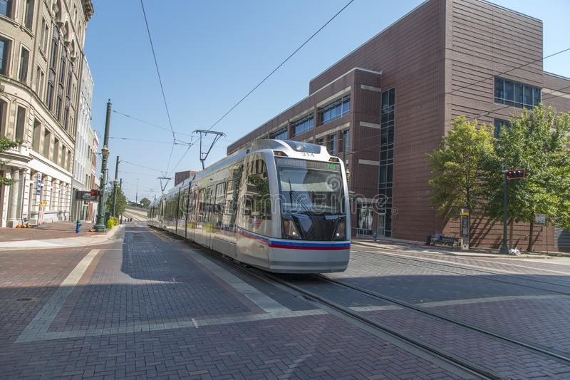 Tranvía van Houston in hoofdstraat bij de stad in royalty-vrije stock foto