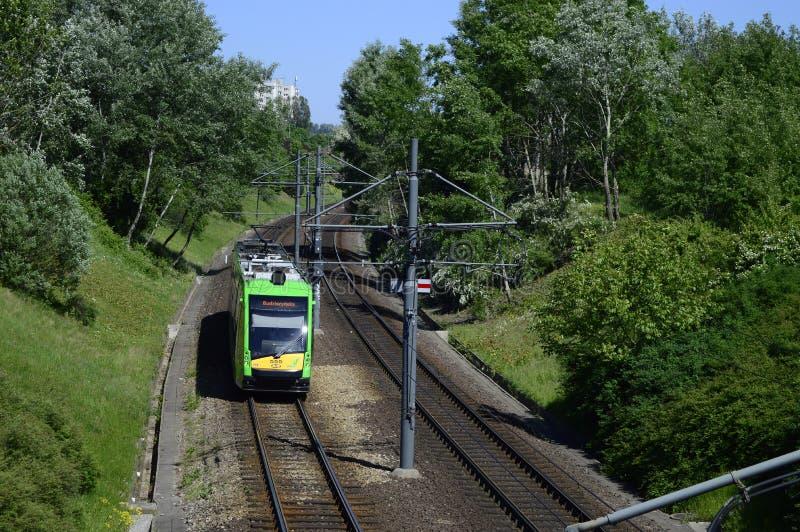Tranvía verde en día soleado foto de archivo