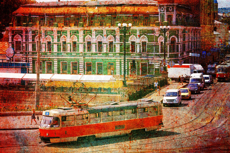 Tranvía vieja en la calle de la ciudad imagen de archivo libre de regalías