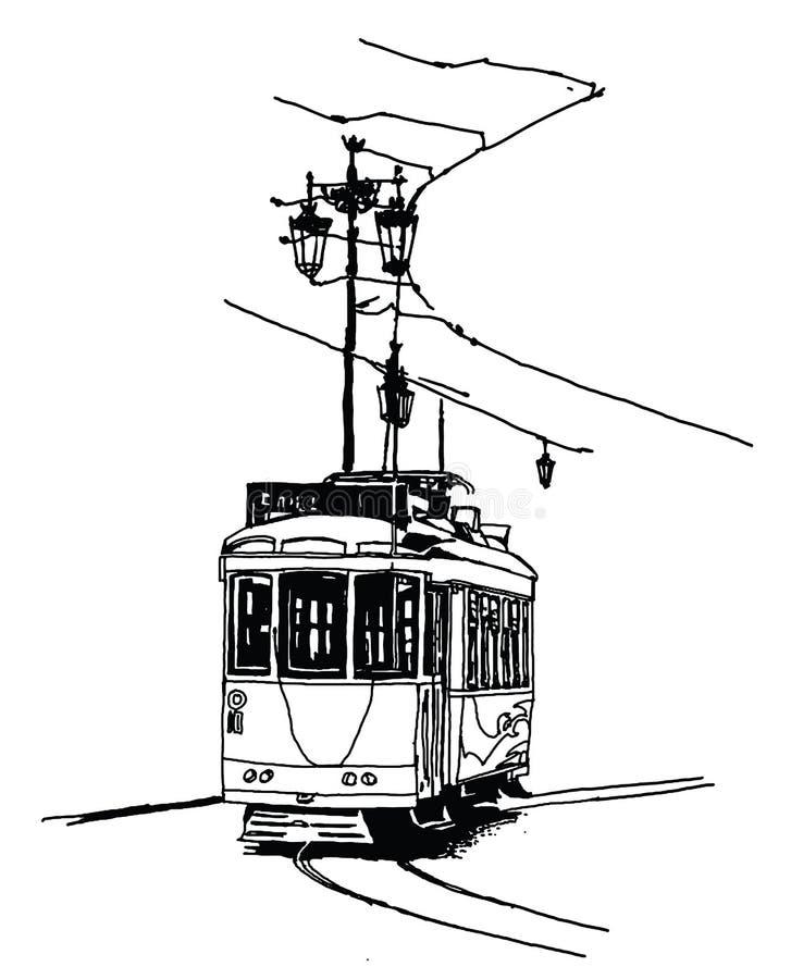 Tranvía viejo en Lisboa ilustración del vector