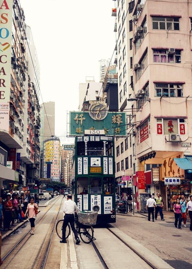 Tranvías de la ciudad en Hong Kong fotos de archivo libres de regalías