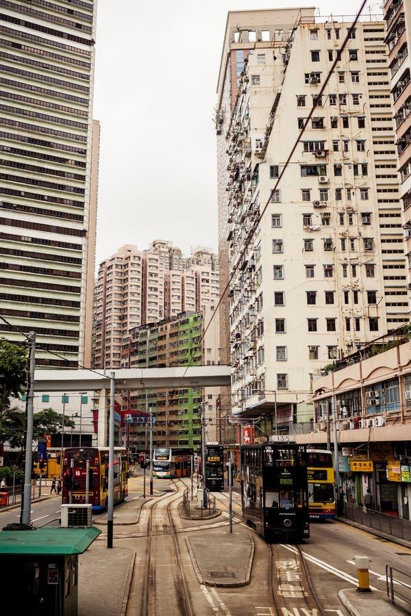 Tranvías de la ciudad en Hong Kong imágenes de archivo libres de regalías