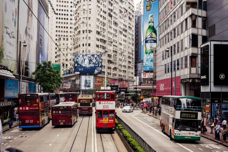 Tranvías de la ciudad en Hong Kong imagenes de archivo