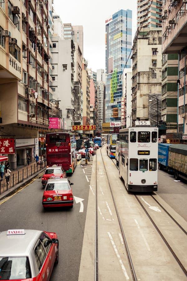 Tranvías de la ciudad en Hong Kong foto de archivo libre de regalías