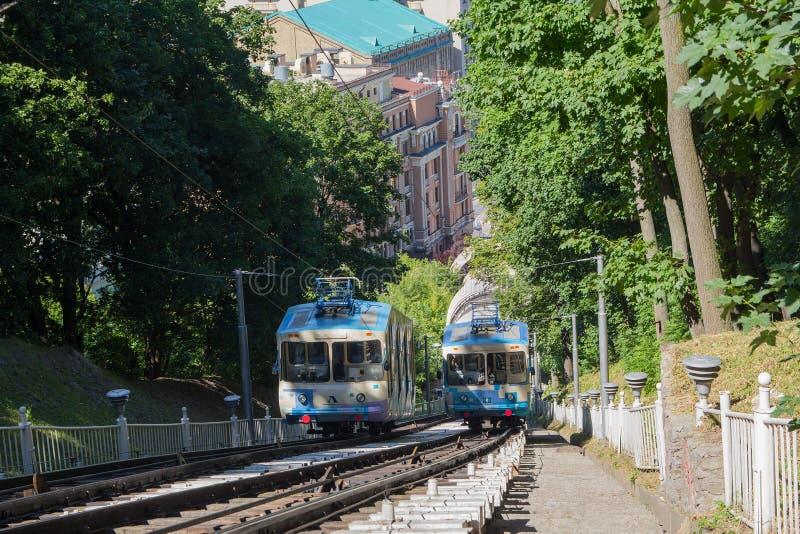 Tranvías de la Kiev funicular kiev imagen de archivo