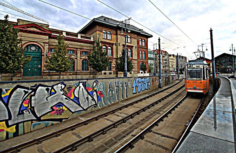 Tranvías de los trenes de Budapest imagen de archivo