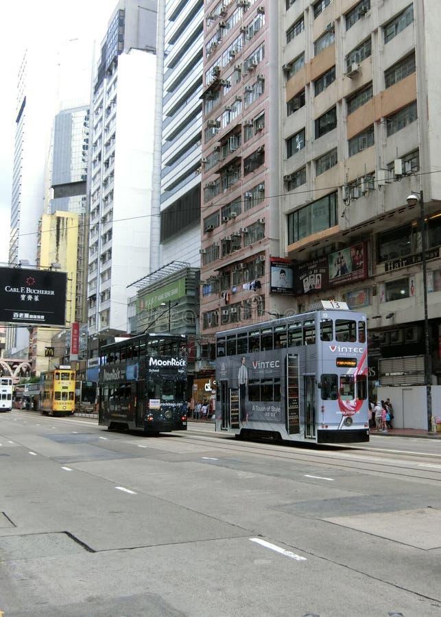 Tranvías en Hong Kong imagen de archivo