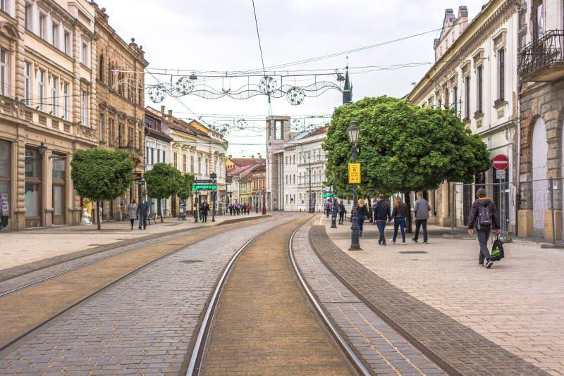 Tranvías en una ciudad europea fotos de archivo libres de regalías