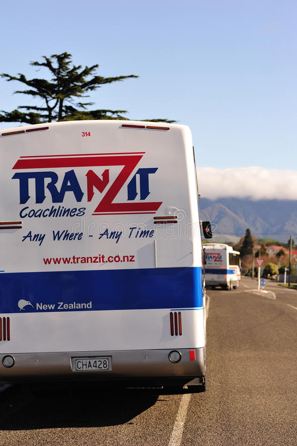 TranZit coaches, New Zealand. Dannevirke, New Zealand - September 7th: Chartered Tranzit buses departed from Dannevirke to Napier, New Zealand on 7 September stock images