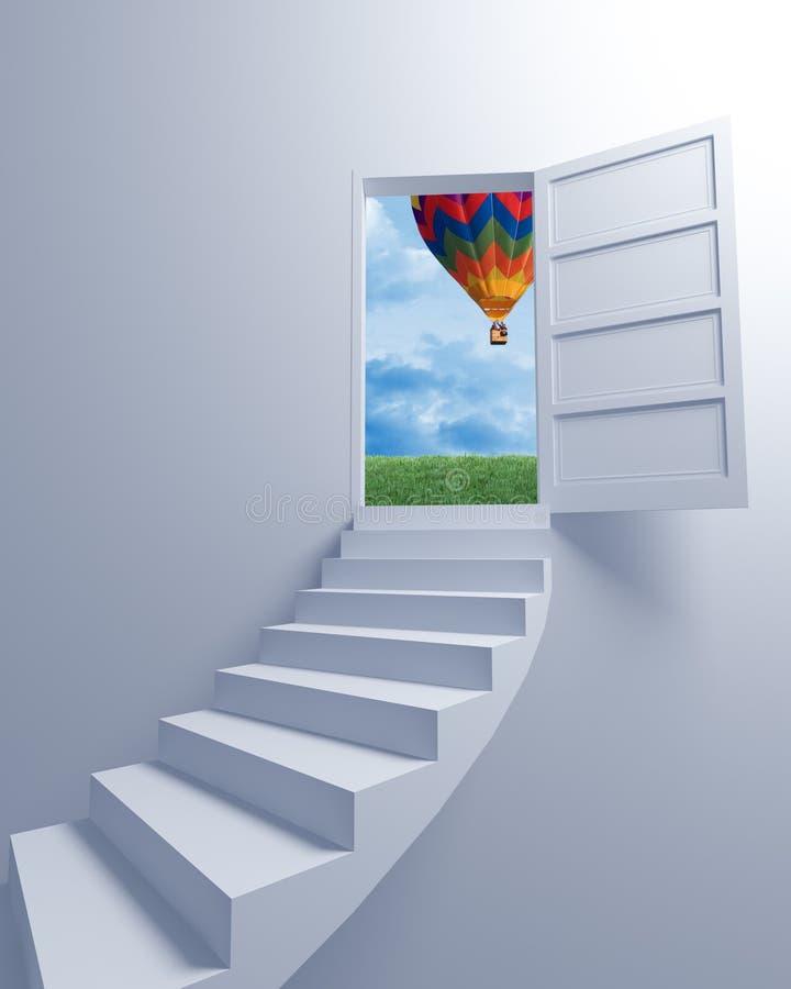 Trap aan de vrijheid en de ballon royalty-vrije illustratie