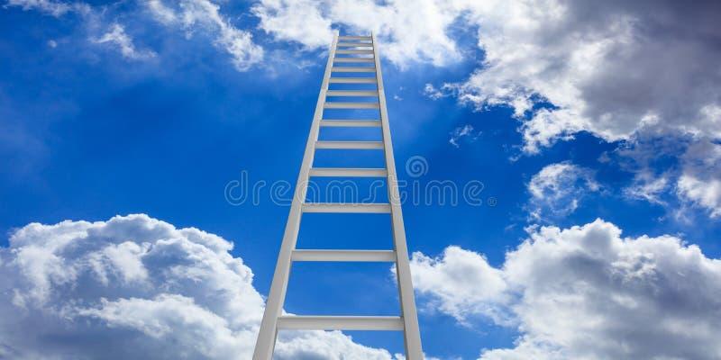 Trap aan hemel Metaalladder op blauwe hemelachtergrond 3D Illustratie vector illustratie