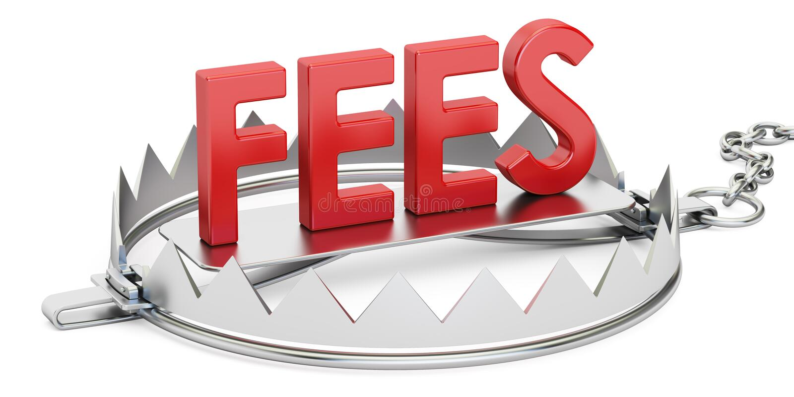Trap with fees inscription, 3D rendering vector illustration