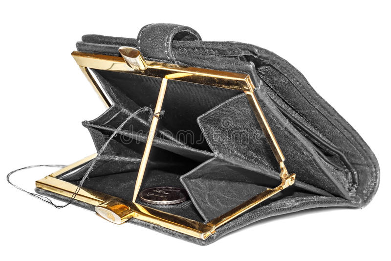 Trap for the money. Traps for money in open purse isolated on white background royalty free stock photos