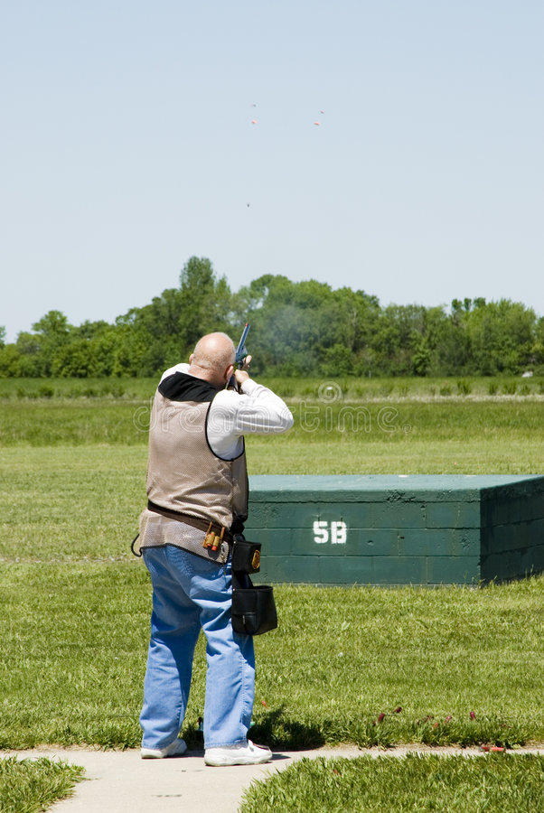 Trap shooting stock photo