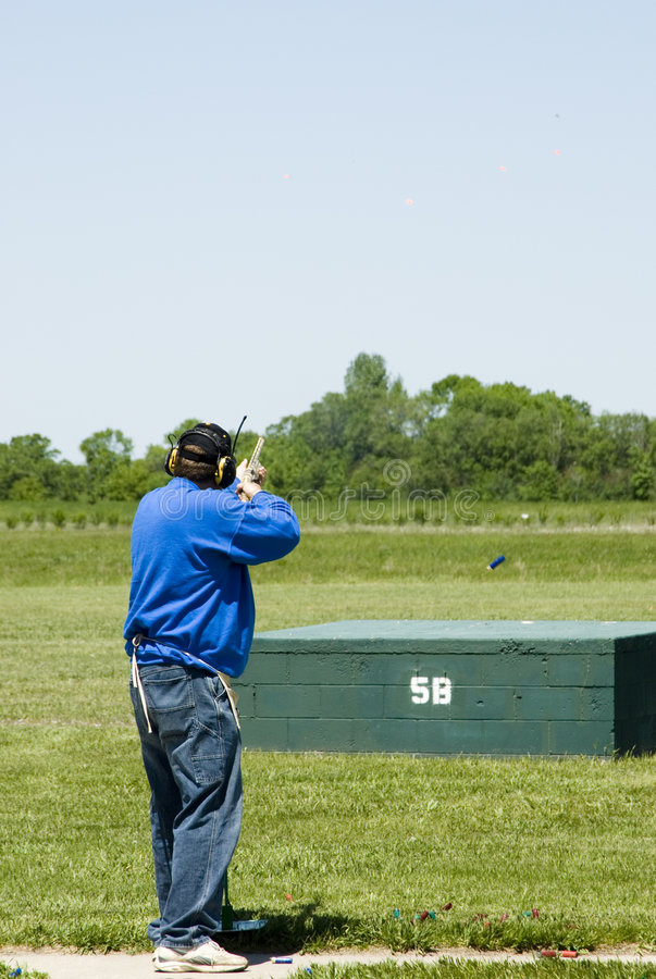 Trap shooting royalty free stock photo