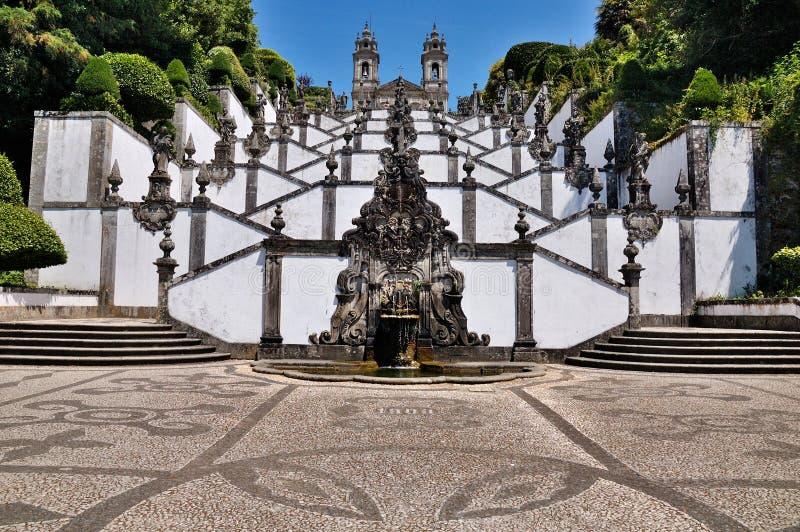 Trap van Bom Jesus do Monte, Braga, Portugal stock afbeeldingen