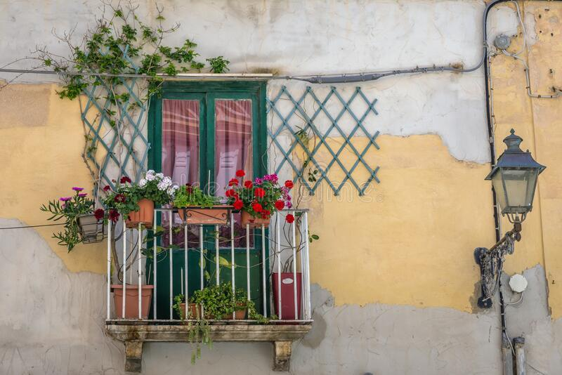 Trapani city in Sicily. Balcony of old town house in Trapani, capital of Trapani Province on Sicily Island in Italy, tenement, window, wall, city, sicilia stock photos